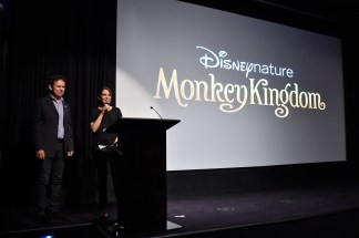 NEW YORK, NY - SEPTEMBER 02: Director Mark Linfield and actress Tina Fey speak on stage at Disneynature's Monkey Kingdom special screening celebrating the film's September15th Blu-ray / Digital HD release on September 2, 2015 in New York City. (Photo by Mike Coppola/Getty Images for Disneynature)