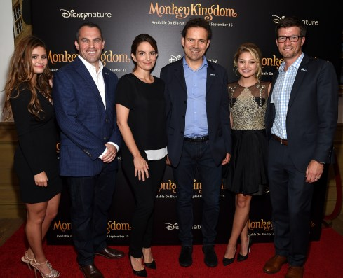 NEW YORK, NY - SEPTEMBER 02: (L-R) Jacquie Lee, Paul Baribault, Tina Fey, Mark Linfield, Olivia Holt and Will Turner attend Disneynature's Monkey Kingdom special screening celebrating the film's September15th Blu-ray / Digital HD release on September 2, 2015 in New York City. (Photo by Mike Coppola/Getty Images for Disneynature)