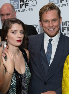 """Eve Hewson and Billy Magnussen arrive as DreamWorks Pictures and Fox2000 Pictures present the """"Bridge of Spies"""" world premiere at the New York Film Festival at Lincoln Center in New York on October 4, 2015 (Photo: Alex J. Berliner/ABImages)"""