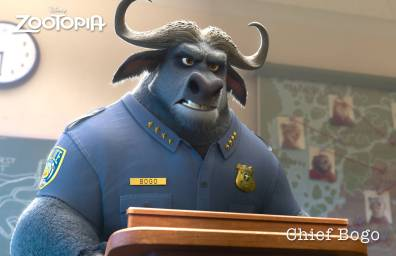 ZOOTOPIA – CHIEF BOGO, head of the Zootopia Police Department. A tough cape buffalo with 2,000 lbs of attitude, Bogo is reluctant to add Judy Hopps, Zootopia's first bunny cop, to his squad of hardened rhinos, elephants and hippos. ©2015 Disney. All Rights Reserved.