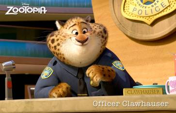 ZOOTOPIA – The Zootopia Police Department's most charming cheetah, BENJAMIN CLAWHAUSER. Clawhauser loves two things: pop star Gazelle and donuts. From his reception desk, he greets everyone with a warm smile and a helpful paw—covered in sprinkles. ©2015 Disney. All Rights Reserved.
