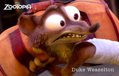 ZOOTOPIA – DUKE WEASELTON, a small-time weasel crook with a big-time weasel mouth, who tries to give Judy the slip during a police chase. ©2015 Disney. All Rights Reserved.