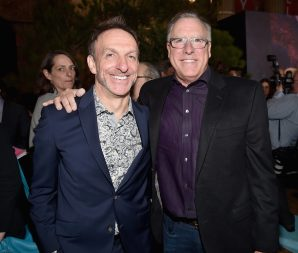 HOLLYWOOD, CA - NOVEMBER 17: Composer Mychael Danna (L) and President of Music & Soundtracks, The Walt Disney Studios, Chris Montan attend the World Premiere Of Disney-Pixar's THE GOOD DINOSAUR at the El Capitan Theatre on November 17, 2015 in Hollywood, California. (Photo by Alberto E. Rodriguez/Getty Images for Disney) *** Local Caption *** Mychael Danna; Chris Montan