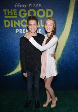 HOLLYWOOD, CA - NOVEMBER 17: (L-R) Actors Gus Kamp and Charlene Geisler attend the World Premiere Of Disney-Pixar's THE GOOD DINOSAUR at the El Capitan Theatre on November 17, 2015 in Hollywood, California. (Photo by Alberto E. Rodriguez/Getty Images for Disney) *** Local Caption *** Charlene Geisler; Gus Kamp