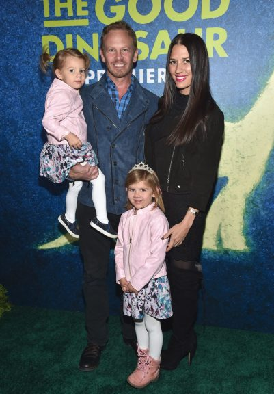 HOLLYWOOD, CA - NOVEMBER 17: Penna Mae, actor Ian Ziering, Erin Ziering and Mia Loren attend the World Premiere Of Disney-Pixar's THE GOOD DINOSAUR at the El Capitan Theatre on November 17, 2015 in Hollywood, California. (Photo by Alberto E. Rodriguez/Getty Images for Disney) *** Local Caption *** Ian Ziering; Erin Ziering; Penna Mae; Mia Loren