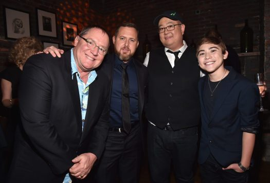 HOLLYWOOD, CA - NOVEMBER 17: (L-R) Executive producer John Lasseter, actor A.J. Buckley, director Peter Sohn, and actor Raymond Ochoa attend the World Premiere Of Disney-Pixar's THE GOOD DINOSAUR at the El Capitan Theatre on November 17, 2015 in Hollywood, California. (Photo by Alberto E. Rodriguez/Getty Images for Disney) *** Local Caption *** A.J. Buckley; Peter Sohn; Raymond Ochoa; John Lasseter