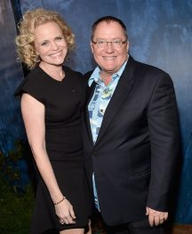 HOLLYWOOD, CA - NOVEMBER 17: Screenwriter Meg LeFauve (L) and executive producer John Lasseter attend the World Premiere Of Disney-Pixar's THE GOOD DINOSAUR at the El Capitan Theatre on November 17, 2015 in Hollywood, California. (Photo by Alberto E. Rodriguez/Getty Images for Disney) *** Local Caption *** Meg LeFauve; John Lasseter