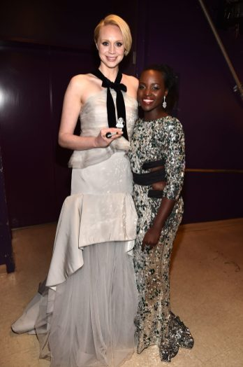 HOLLYWOOD, CA - DECEMBER 14: Actors Gwendoline Christie (L) and Lupita Nyong'o attend the World Premiere of ?Star Wars: The Force Awakens? at the Dolby, El Capitan, and TCL Theatres on December 14, 2015 in Hollywood, California. (Photo by Alberto E. Rodriguez/Getty Images for Disney) *** Local Caption *** Gwendoline Christie;Lupita Nyong'o