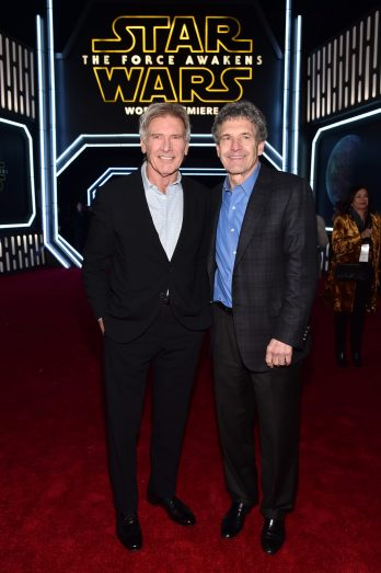 HOLLYWOOD, CA - DECEMBER 14: Actor Harrison Ford (L) and chairman, The Walt Disney Studios, Alan Horn attend the World Premiere of ?Star Wars: The Force Awakens? at the Dolby, El Capitan, and TCL Theatres on December 14, 2015 in Hollywood, California. (Photo by Alberto E. Rodriguez/Getty Images for Disney) *** Local Caption *** Harrison Ford;Alan Horn