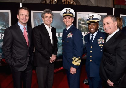 HOLLYWOOD, CA - JANUARY 25: (L-R) President of Walt Disney Studios Motion Picture Production Sean Bailey, Chairman, The Walt Disney Studios, Alan Horn, Admiral and Commandant, US Coast Guard, Paul Zukunft, Commander, US Coast Guard, John Pruitt and President, The Walt Disney Studios, Alan Bergman and the cast of Disney?s ?The Finest Hours? were greeted by the U.S. Coast Guard Band, Honor Guard and throngs of fans at the film?s premiere earlier tonight at the TCL Chinese Theater on Hollywood Blvd. The heroic action-thriller opens in U.S. theaters this Friday, January 29. (Photo by Alberto E. Rodriguez/Getty Images for Disney) *** Local Caption *** Sean Bailey; Alan Horn; Paul Zukunft; John Pruitt; Alan Bergman