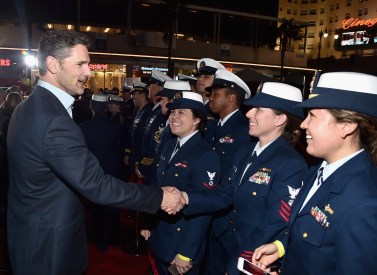 HOLLYWOOD, CA - JANUARY 25: Actor Eric Bana and the cast of Disney?s ?The Finest Hours? were greeted by the U.S. Coast Guard Band, Honor Guard and throngs of fans at the film?s premiere earlier tonight at the TCL Chinese Theater on Hollywood Blvd. The heroic action-thriller opens in U.S. theaters this Friday, January 29. (Photo by Alberto E. Rodriguez/Getty Images for Disney) *** Local Caption *** Eric Bana