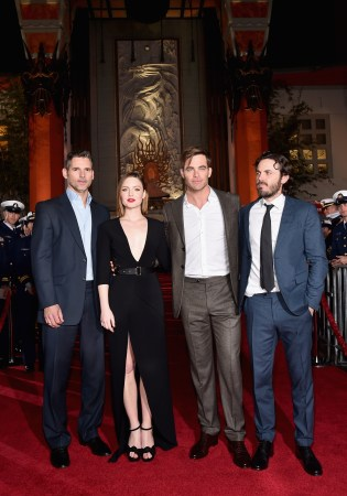 HOLLYWOOD, CA - JANUARY 25: Actors Eric Bana, Holliday Grainger, Chris Pine and Casey Affleck and the cast of Disney?s ?The Finest Hours? were greeted by the U.S. Coast Guard Band, Honor Guard and throngs of fans at the film?s premiere earlier tonight at the TCL Chinese Theater on Hollywood Blvd. The heroic action-thriller opens in U.S. theaters this Friday, January 29. (Photo by Alberto E. Rodriguez/Getty Images for Disney) *** Local Caption *** Eric Bana; Holliday Grainger; Chris Pine; Casey Affleck