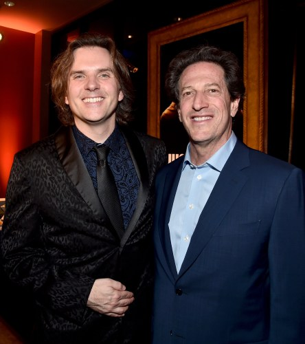 """HOLLYWOOD, CA - FEBRUARY 17: Director Byron Howard (L) and President of Disney Animation Andrew Millstein attend the Los Angeles premiere of Walt Disney Animation Studios' """"Zootopia"""" on February 17, 2016 in Hollywood, California. (Photo by Alberto E. Rodriguez/Getty Images for Disney) *** Local Caption *** Byron Howard; Andrew Millstein"""