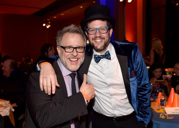 """HOLLYWOOD, CA - FEBRUARY 17: Director Rich Moore (L) and composer Michael Giacchino attend the Los Angeles premiere of Walt Disney Animation Studios' """"Zootopia"""" on February 17, 2016 in Hollywood, California. (Photo by Alberto E. Rodriguez/Getty Images for Disney) *** Local Caption *** Rich Moore; Michael Giacchino"""