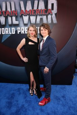 "HOLLYWOOD, CALIFORNIA - APRIL 12: Actors Ryan Simpkins (L) and Ty Simpkins attend The World Premiere of Marvel's ""Captain America: Civil War"" at Dolby Theatre on April 12, 2016 in Los Angeles, California. (Photo by Jesse Grant/Getty Images for Disney) *** Local Caption *** Ty Simpkins; Ryan Simpkins"