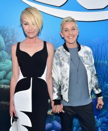HOLLYWOOD, CA - JUNE 08: Actresses Portia de Rossi (L) and Ellen DeGeneres attend The World Premiere of Disney-Pixar's FINDING DORY on Wednesday, June 8, 2016 in Hollywood, California. (Photo by Alberto E. Rodriguez/Getty Images for Disney) *** Local Caption *** Portia de Rossi; Ellen DeGeneres