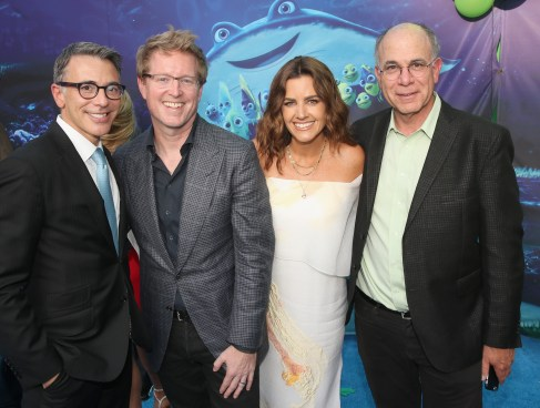 HOLLYWOOD, CA - JUNE 08: (L-R) President, Marketing, The Walt Disney Studios, Ricky Strauss, Director/screenwriter Andrew Stanton, producer Lindsey Collins and EVP, Marketing, Walt Disney Pictures, David Sameth attend The World Premiere of Disney-Pixar's FINDING DORY on Wednesday, June 8, 2016 in Hollywood, California. (Photo by Jesse Grant/Getty Images for Disney ) *** Local Caption *** Ricky Strauss; Andrew Stanton; Lindsey Collins; David Sameth