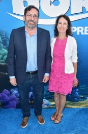 HOLLYWOOD, CA - JUNE 08: Actor Bob Peterson (L) and guest attend The World Premiere of Disney-Pixar's FINDING DORY on Wednesday, June 8, 2016 in Hollywood, California. (Photo by Alberto E. Rodriguez/Getty Images for Disney) *** Local Caption *** Bob Peterson