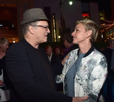 HOLLYWOOD, CA - JUNE 08: Actors Albert Brooks (L) and Ellen DeGeneres attend The World Premiere of Disney-Pixar's FINDING DORY on Wednesday, June 8, 2016 in Hollywood, California. (Photo by Alberto E. Rodriguez/Getty Images for Disney) *** Local Caption *** Albert Brooks; Ellen DeGeneres
