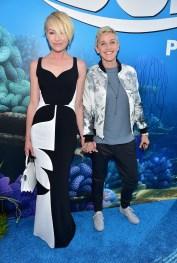 HOLLYWOOD, CA - JUNE 08: Actresses Portia de Rossi (L) and Ellen DeGeneres attend The World Premiere of Disney-Pixar's FINDING DORY on Wednesday, June 8, 2016 in Hollywood, California. (Photo by Alberto E. Rodriguez/Getty Images for Disney) *** Local Caption *** Portia de Rossi; Ellen DeGeneres