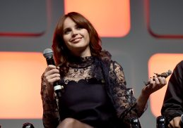 LONDON, ENGLAND - JULY 15: Felicity Jones on stage during the Rogue One Panel at the Star Wars Celebration 2016 at ExCel on July 15, 2016 in London, England. (Photo by Ben A. Pruchnie/Getty Images for Walt Disney Studios) *** Local Caption *** Felicity Jones