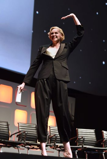 LONDON, ENGLAND - JULY 15: Gwendoline Christie on stage during the Rogue One Panel at the Star Wars Celebration 2016 at ExCel on July 15, 2016 in London, England. (Photo by Ben A. Pruchnie/Getty Images for Walt Disney Studios) *** Local Caption *** Gwendoline Christie