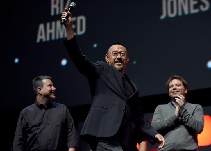 LONDON, ENGLAND - JULY 15: (L-R) Writer John Knoll, actor Wen Jiang and director Gareth Edwards on stage during the Rogue One Panel at the Star Wars Celebration 2016 at ExCel on July 15, 2016 in London, England. (Photo by Ben A. Pruchnie/Getty Images for Walt Disney Studios) *** Local Caption *** John Knoll; Wen Jiang; Gareth Edwards