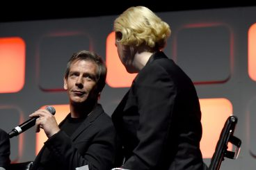 LONDON, ENGLAND - JULY 15: Ben Mendelsohn and Gwendoline Christie on stage during the Rogue One Panel at the Star Wars Celebration 2016 at ExCel on July 15, 2016 in London, England. (Photo by Ben A. Pruchnie/Getty Images for Walt Disney Studios) *** Local Caption *** Ben Mendelsohn; Gwendoline Christie
