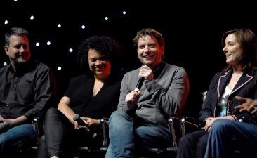LONDON, ENGLAND - JULY 15: (L-R) Writer John Knoll, co-producer Kiri Hart, director Gareth Edwards and producer Kathleen Kennedy on stage during the Rogue One Panel at the Star Wars Celebration 2016 at ExCel on July 15, 2016 in London, England. (Photo by Ben A. Pruchnie/Getty Images for Walt Disney Studios) *** Local Caption *** John Knoll; Kiri Hart; Gareth Edwards; Kathleen Kennedy
