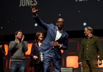 LONDON, ENGLAND - JULY 15: (L-R) Director Gareth Edwards, producer Kathleen Kennedy, Forest Whitaker and Mads Mikkelsen on stage during the Rogue One Panel at the Star Wars Celebration 2016 at ExCel on July 15, 2016 in London, England. (Photo by Ben A. Pruchnie/Getty Images for Walt Disney Studios) *** Local Caption *** Gareth Edwards; Kathleen Kennedy; Forest Whitaker; Mads Mikkelsen