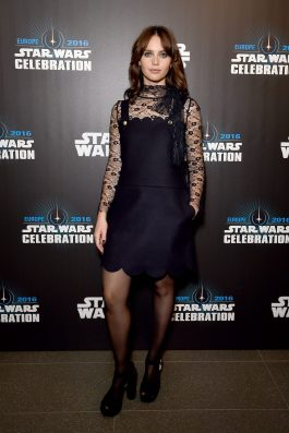 LONDON, ENGLAND - JULY 15: Felicity Jones attends the Star Wars Celebration 2016 at ExCel on July 15, 2016 in London, England. (Photo by Ben A. Pruchnie/Getty Images for Walt Disney Studios) *** Local Caption *** Felicity Jones