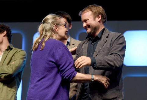 LONDON, ENGLAND - JULY 17: Carrie Fisher and Rian Johnson on stage during Future Directors Panel at the Star Wars Celebration 2016 at ExCel on July 17, 2016 in London, England. (Photo by Ben A. Pruchnie/Getty Images for Walt Disney Studios) *** Local Caption *** Carrie Fisher; Rian Johnson