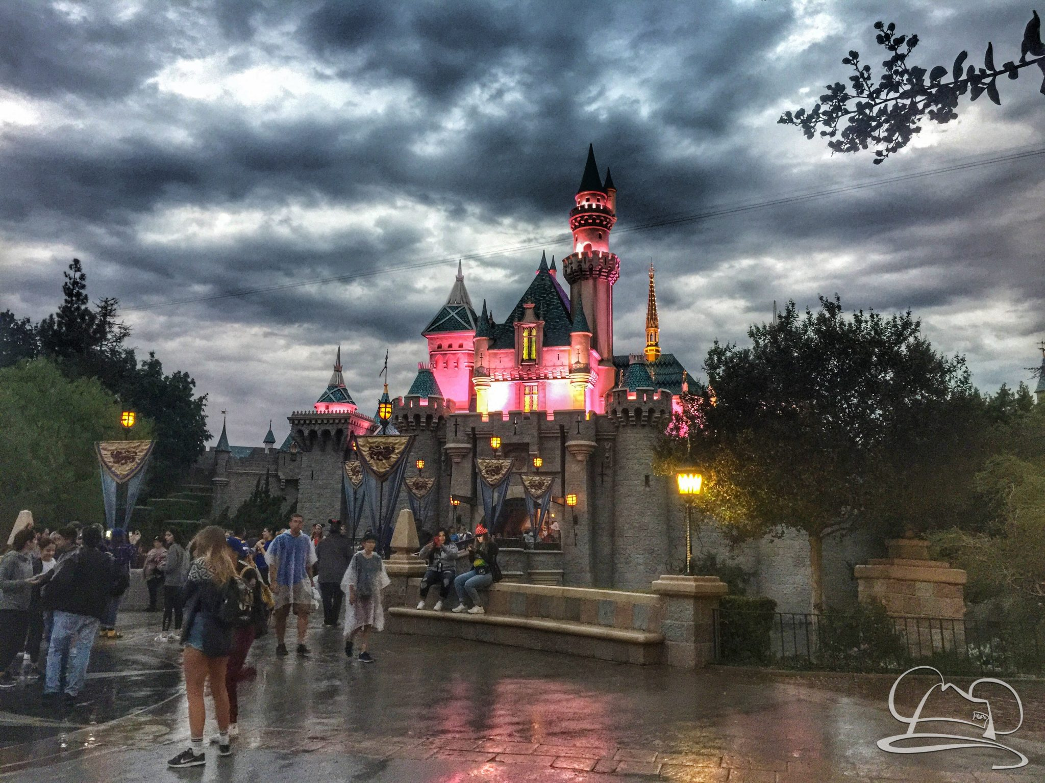 Sleeping Beauty Castle on a Rainy Day at Disneyland!