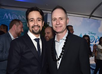 "HOLLYWOOD, CA - NOVEMBER 14: Songwriter Lin-Manuel Miranda (L) and music supervisor Tom MacDougall attend The World Premiere of Disney's ""MOANA"" at the El Capitan Theatre on Monday, November 14, 2016 in Hollywood, CA. (Photo by Alberto E. Rodriguez/Getty Images for Disney) *** Local Caption *** Lin-Manuel Miranda; Tom MacDougall"