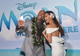 """HOLLYWOOD, CA - NOVEMBER 14: Actors Dwayne Johnson (L) and Nicole Scherzinger attend The World Premiere of Disney's """"MOANA"""" at the El Capitan Theatre on Monday, November 14, 2016 in Hollywood, CA. (Photo by Alberto E. Rodriguez/Getty Images for Disney) *** Local Caption *** Nicole Scherzinger; Dwayne Johnson"""