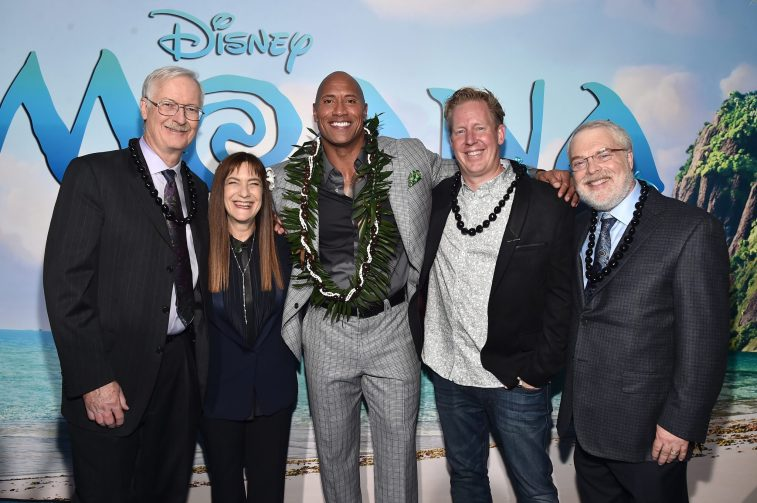 "HOLLYWOOD, CA - NOVEMBER 14: (L-R) Co-director John Musker, Producer Osnat Shurer, actor Dwayne Johnson, Screenwriter Jared Bush and Co-Director Ron Clements attend The World Premiere of Disney's ""MOANA"" at the El Capitan Theatre on Monday, November 14, 2016 in Hollywood, CA. (Photo by Alberto E. Rodriguez/Getty Images for Disney) *** Local Caption *** John Musker; Osnat Shurer; Dwayne Johnson; Jared Bush; Ron Clements"