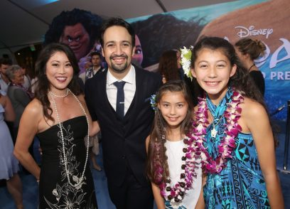 """HOLLYWOOD, CA - NOVEMBER 14: (L-R) Olympian figure skater Kristi Yamaguchi, songwriter Lin-Manuel Miranda, and guests attend The World Premiere of Disney's """"MOANA"""" at the El Capitan Theatre on Monday, November 14, 2016 in Hollywood, CA. (Photo by Jesse Grant/Getty Images for Disney) *** Local Caption *** Kristi Yamaguchi; Lin-Manuel Miranda"""