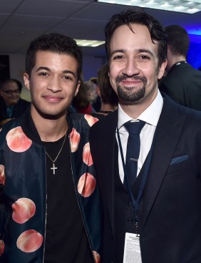 "HOLLYWOOD, CA - NOVEMBER 14: Singer Jordan Fisher (L) and songwriter Lin-Manuel Miranda attend The World Premiere of Disney's ""MOANA"" at the El Capitan Theatre on Monday, November 14, 2016 in Hollywood, CA. (Photo by Alberto E. Rodriguez/Getty Images for Disney) *** Local Caption *** Lin-Manuel Miranda; Jordan Fisher"
