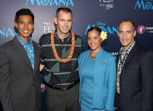 """HOLLYWOOD, CA - NOVEMBER 14: (2nd L-R) Executive vice president & chief commercial officer of Hawaiian Airlines Peter R. Ingram, guest, and VP, Promotions, The Walt Disney Studios, Don Gross attend The World Premiere of Disney's """"MOANA"""" at the El Capitan Theatre on Monday, November 14, 2016 in Hollywood, CA. (Photo by Jesse Grant/Getty Images for Disney) *** Local Caption *** Peter R. Ingram; Don Gross"""