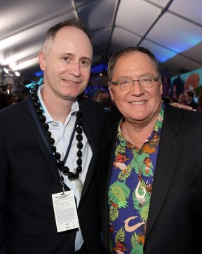 "HOLLYWOOD, CA - NOVEMBER 14: Walt Disney Studios Senior VP of Music Tom MacDougall (L) and executive producer John Lasseter attend The World Premiere of Disney's ""MOANA"" at the El Capitan Theatre on Monday, November 14, 2016 in Hollywood, CA. (Photo by Jesse Grant/Getty Images for Disney) *** Local Caption *** John Lasseter; Tom MacDougall"