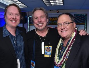 """HOLLYWOOD, CA - NOVEMBER 14: (L-R) Co-director Don Hall, composer Mark Mancina and executive producer John Lasseter attend The World Premiere of Disney's """"MOANA"""" at the El Capitan Theatre on Monday, November 14, 2016 in Hollywood, CA. (Photo by Alberto E. Rodriguez/Getty Images for Disney) *** Local Caption *** John Lasseter; Mark Mancina; Don Hall"""