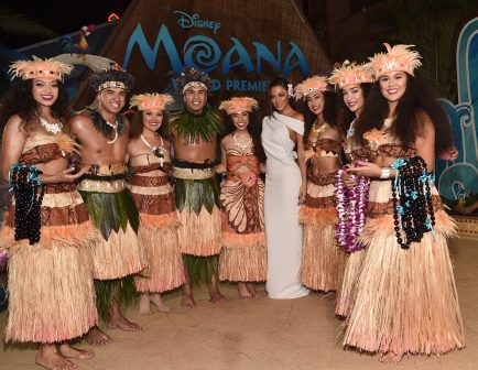 "HOLLYWOOD, CA - NOVEMBER 14: Actress Nicole Scherzinger (C) and performers attend The World Premiere of Disney's ""MOANA"" at the El Capitan Theatre on Monday, November 14, 2016 in Hollywood, CA. (Photo by Alberto E. Rodriguez/Getty Images for Disney) *** Local Caption *** Nicole Scherzinger"