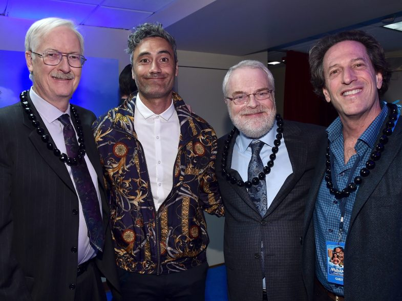 """HOLLYWOOD, CA - NOVEMBER 14: Director John Musker, Story Consultant Taika Waititi, director Ron Clements, and Walt Disney Animation Studios President Andrew Millstein attend The World Premiere of Disney's """"MOANA"""" at the El Capitan Theatre on Monday, November 14, 2016 in Hollywood, CA. (Photo by Alberto E. Rodriguez/Getty Images for Disney) *** Local Caption *** John Musker; Ron Clements; Andrew Millstein; Taika Waititi"""