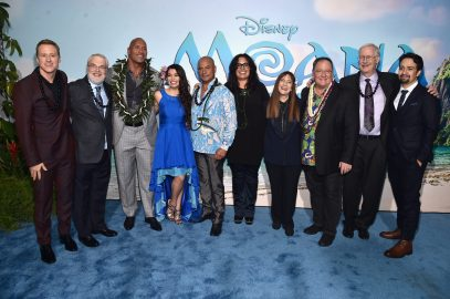 """HOLLYWOOD, CA - NOVEMBER 14: (L-R) Actor Alan Tudyk, Co-director Ron Clements, actors Dwayne Johnson, Auli'i Cravalho, Temuera Morrison, Rachel House, Producer Osnat Shurer, Executive producer John Lasseter, co-director John Musker and Songwriter Lin-Manuel Miranda attend The World Premiere of Disney's """"MOANA"""" at the El Capitan Theatre on Monday, November 14, 2016 in Hollywood, CA. (Photo by Alberto E. Rodriguez/Getty Images for Disney) *** Local Caption *** Alan Tudyk; Ron Clements; Dwayne Johnson; Auli'i Cravalho; Temuera Morrison; Rachel House; Osnat Shurer; John Lasseter; John Musker; Lin-Manuel Miranda"""