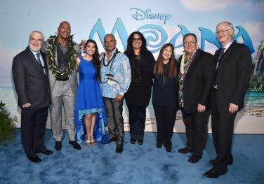 "HOLLYWOOD, CA - NOVEMBER 14: (L-R) Co-director Ron Clements, actors Dwayne Johnson, Auli'i Cravalho, Temuera Morrison, Rachel House, producer Osnat Shurer, Executive producer John Lasseter and co-director John Musker attend The World Premiere of Disney's ""MOANA"" at the El Capitan Theatre on Monday, November 14, 2016 in Hollywood, CA. (Photo by Alberto E. Rodriguez/Getty Images for Disney) *** Local Caption *** Ron Clements; Dwayne Johnson; Auli'i Cravalho; Temuera Morrison; Rachel House; Osnat Shurer; John Lasseter; John Musker"