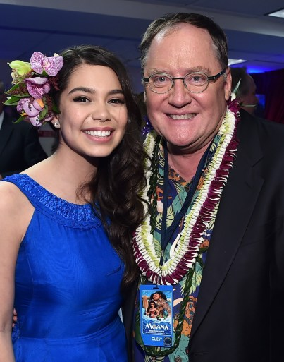 "HOLLYWOOD, CA - NOVEMBER 14: Actress Auli'i Cravalho (L) and Executive producer John Lasseter attend The World Premiere of Disney's ""MOANA"" at the El Capitan Theatre on Monday, November 14, 2016 in Hollywood, CA. (Photo by Alberto E. Rodriguez/Getty Images for Disney) *** Local Caption *** Auli'i Cravalho; John Lasseter"