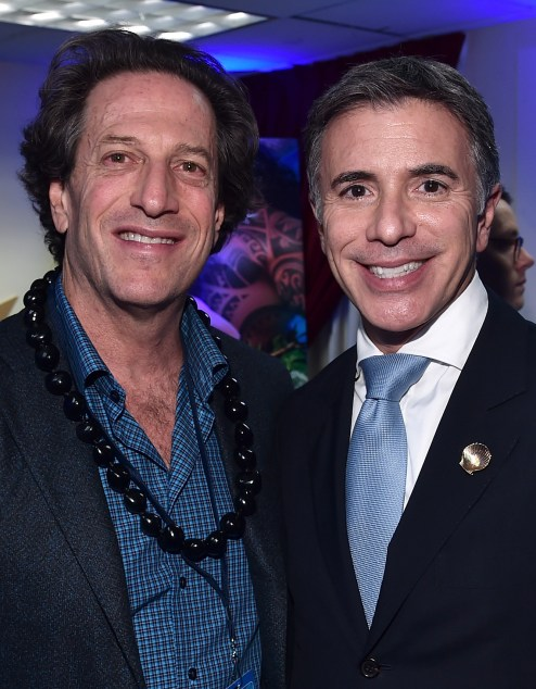 """HOLLYWOOD, CA - NOVEMBER 14: President of Disney Animation, Andrew Millstein (L) and President, Marketing, The Walt Disney Studios, Ricky Strauss attend The World Premiere of Disney's """"MOANA"""" at the El Capitan Theatre on Monday, November 14, 2016 in Hollywood, CA. (Photo by Alberto E. Rodriguez/Getty Images for Disney) *** Local Caption *** Andrew Millstein; Ricky Strauss"""