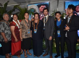 """HOLLYWOOD, CA - NOVEMBER 14: US Congresswoman Amata Coleman Radewagen (C) and guests attend The World Premiere of Disney's """"MOANA"""" at the El Capitan Theatre on Monday, November 14, 2016 in Hollywood, CA. (Photo by Alberto E. Rodriguez/Getty Images for Disney) *** Local Caption *** Amata Coleman Radewagen"""