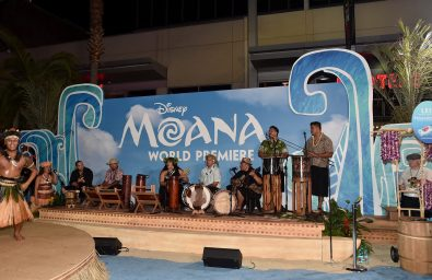 """HOLLYWOOD, CA - NOVEMBER 14: Musicians Tiana Liufau and Sefa Pumphrey (both C) with band perform onstage at The World Premiere of Disney's """"MOANA"""" at the El Capitan Theatre on Monday, November 14, 2016 in Hollywood, CA. (Photo by Alberto E. Rodriguez/Getty Images for Disney) *** Local Caption *** Tiana Liufau; Sefa Pumphrey"""
