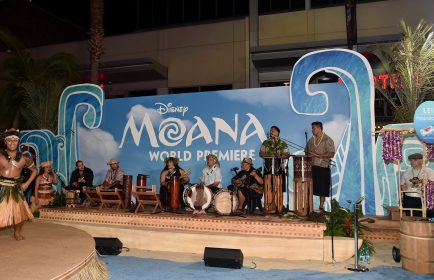 "HOLLYWOOD, CA - NOVEMBER 14: Musicians Tiana Liufau and Sefa Pumphrey (both C) with band perform onstage at The World Premiere of Disney's ""MOANA"" at the El Capitan Theatre on Monday, November 14, 2016 in Hollywood, CA. (Photo by Alberto E. Rodriguez/Getty Images for Disney) *** Local Caption *** Tiana Liufau; Sefa Pumphrey"